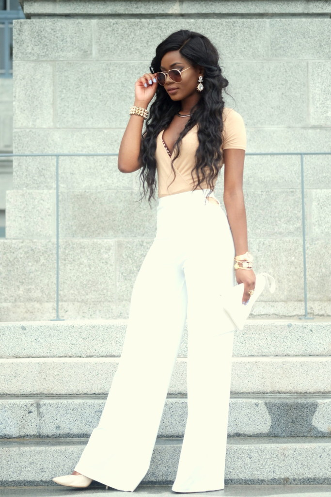 Billykiss Azeez - Your Favourite Muse - Classy Outfit - Nude Bodysuit with white flared pants and nude heels. Forever21, Pretty Little Things, Misguided. Fashion Blogger - Irish Nigerian.