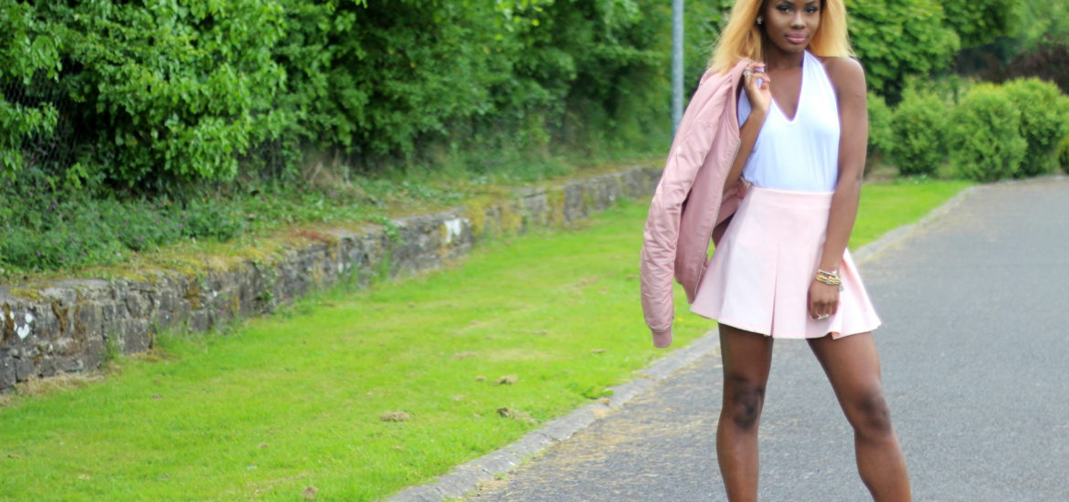 Your Favourite Muse. Billykiss Azeez. Summer Outfit 2016. Pink skater skirt, with white halterneck bodysuit, pink bomber jacket and clear white ankle boots. Forever 21, Pretty Little Things, Stradivarius, Simmi.