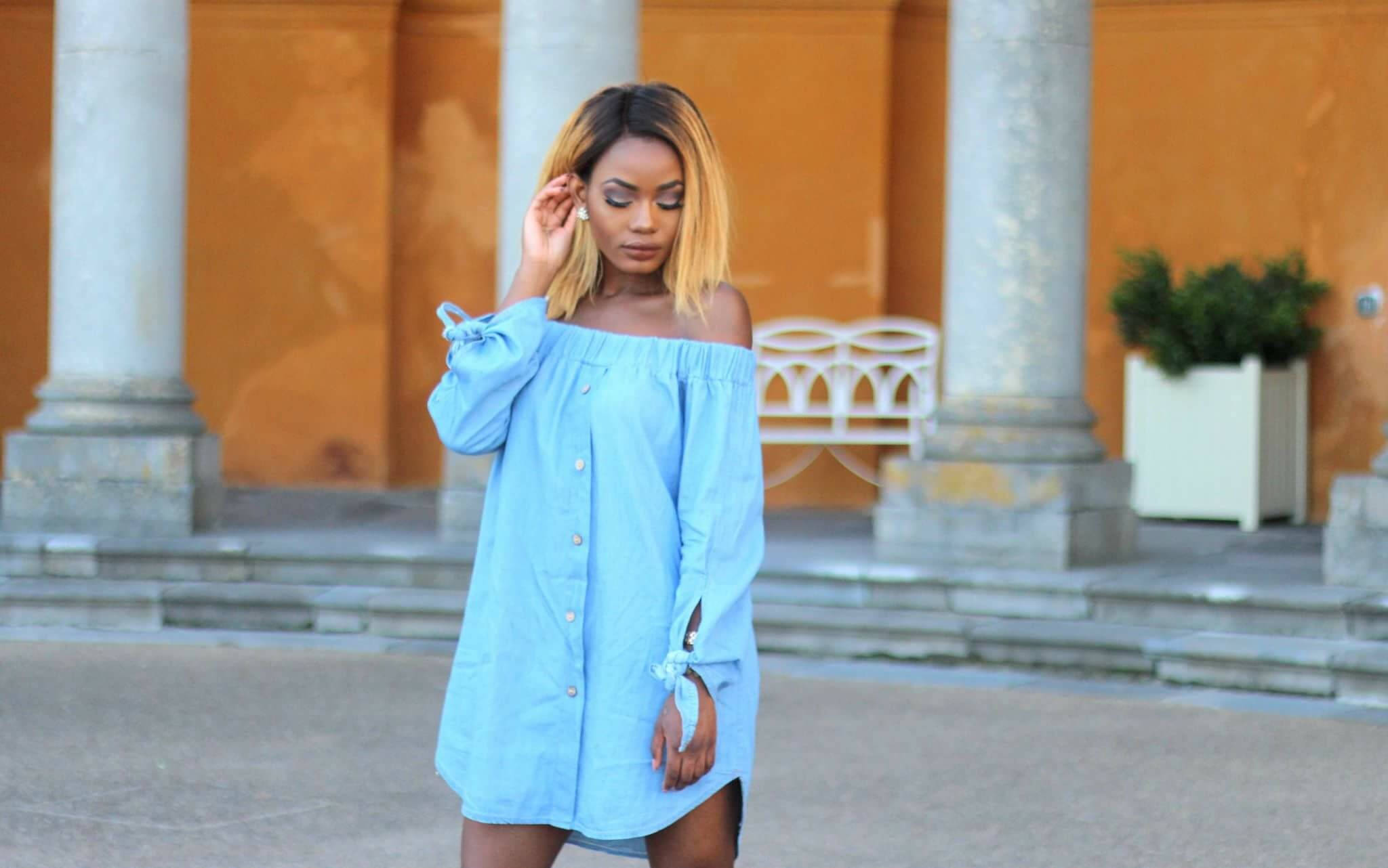Your Favourite Muse. Billykiss Azeez. African Irish Blogger. Lifestyle fashion blog. Summer Outfit 2016. Off-Shoulder Denim Dress. Clear white ankle boots. Catch. Dublin. TGI Friday. Dublin. Simmi.