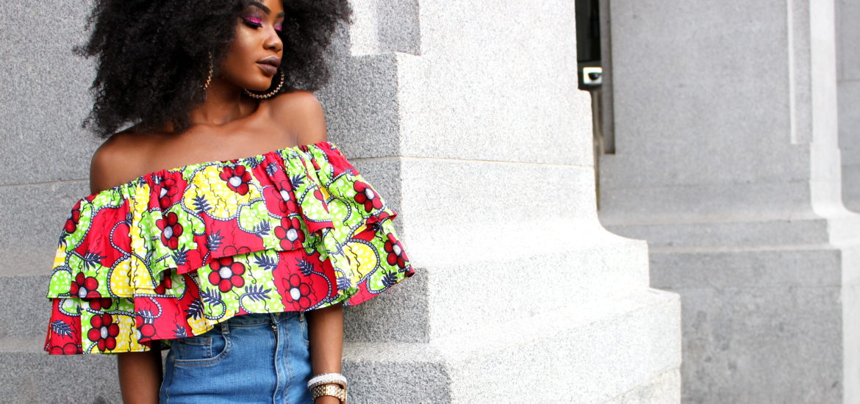 Billykiss Azeez. Your Favourite Muse. Fashion Irish Blogger. Asoebi. African Ankara print dress. Skirt. Off-shoulder top. Grassfield. Jorie Hair. Afro Hair. African Style Blogger.