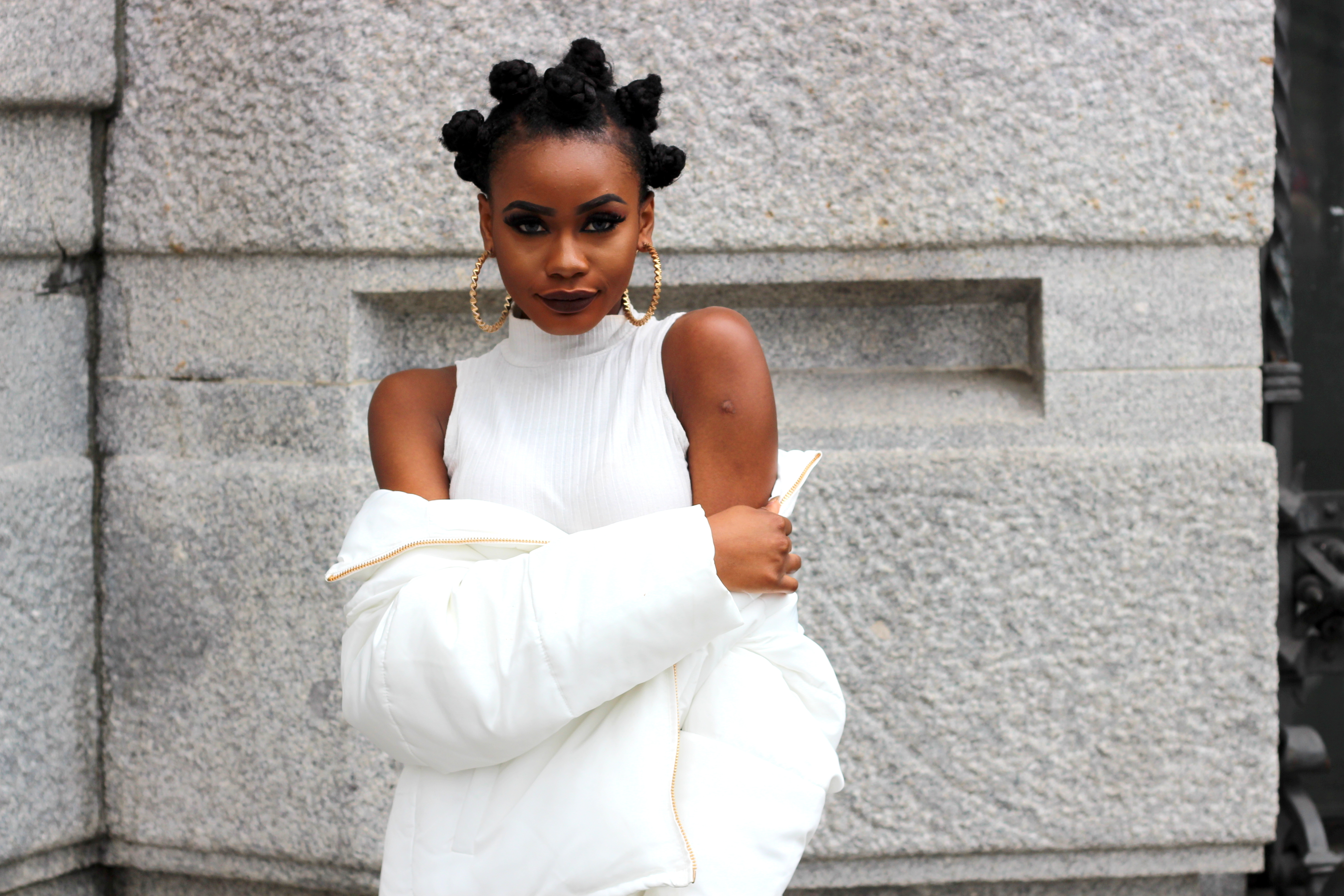 Billykiss Azeez. Your Favourite Muse. Fashion Irish Blogger. Street-style. Puffy Quilted Zara Jacket. H&M Seude Camal Skirt. EGO Nude Thigh High Boots. African Style Blogger. Bantu Knots. High Fashion. A/W 16.