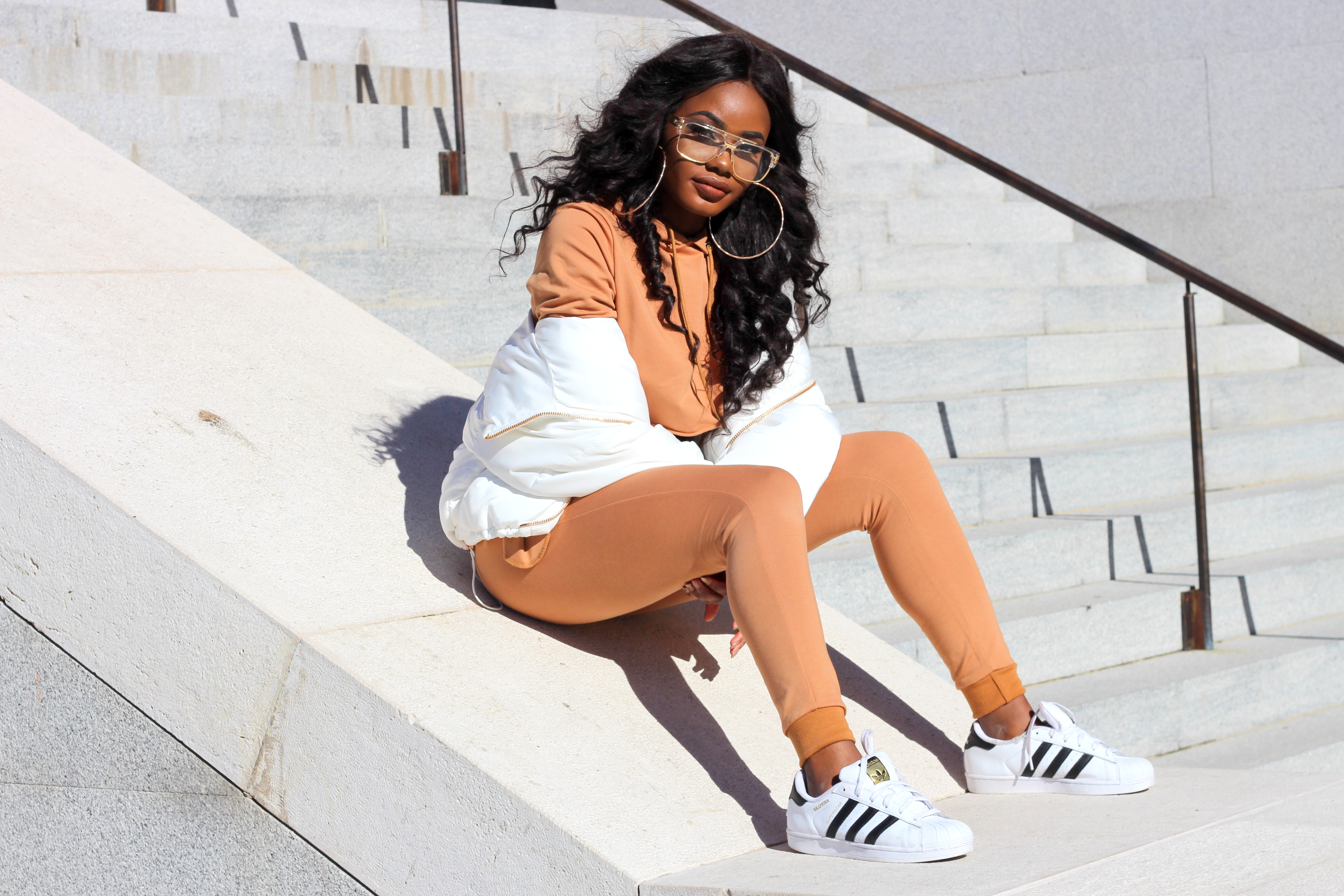 Billykiss Azeez. Your Favourite Muse. Fashion Irish Blogger. Classy style. Aliexpress Crop Hoodie. Fashionnova Nude Bandage Skirt. Aliexpress Tracksuit. Zara White Quilted Jacket. Adidas Superstar. EGO Nude Perplex clear heel. African Style Blogger. Street Style. Casual Look. High Fashion. A/W 16.