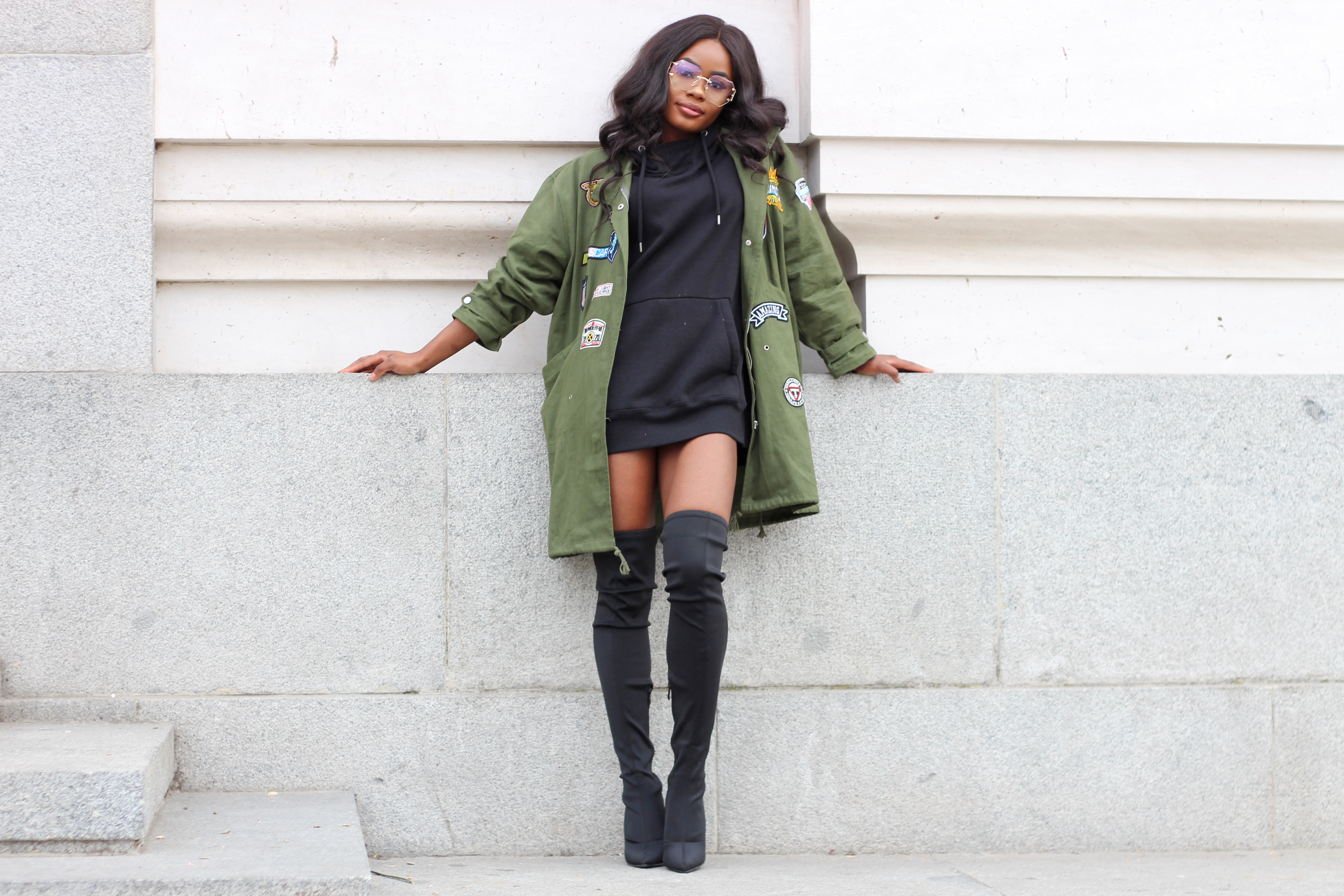 Billykiss Azeez. Your Favourite Muse. Fashion Irish Blogger. African Blogger. Street style. Lasula Miltary Jacket. Bershka Black Oversized Hoodie. Lasula Over-knee Boots. Casual Look. High Fashion. A/W 16.