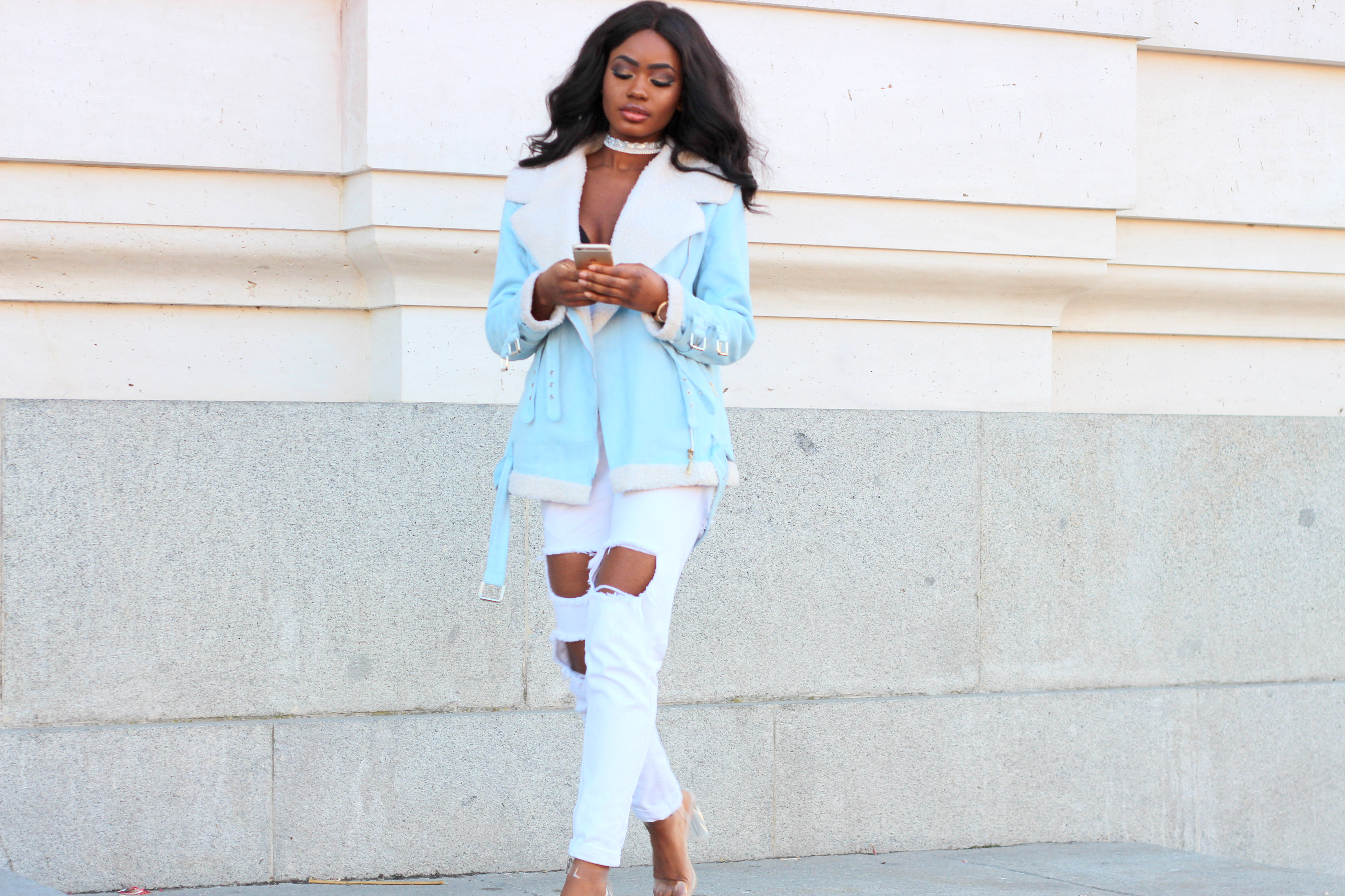 Billykiss Azeez. Your Favourite Muse. Fashion Irish Blogger. African Blogger. Street style. Lasula Borg Jacket Light Blue. Lasula Distressed mom Jeans. Ego clear heels. Casual Look. High Fashion. A/W 16.