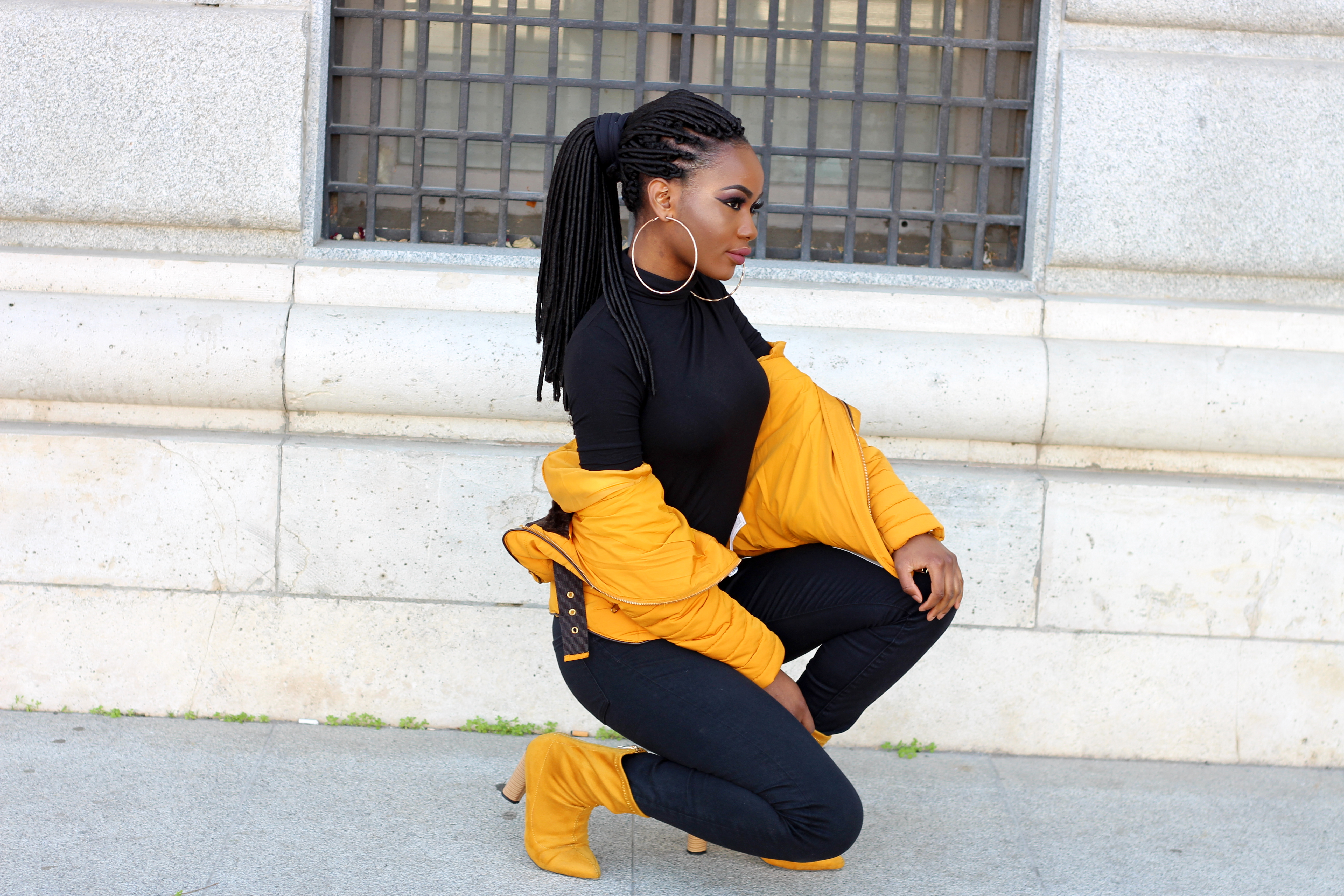 Billykiss Azeez. Your Favourite Muse. Fashion Irish Blogger. African Blogger. Street style. Zara Puff Mustard Jacket. Stradivarius Black Turtleneck. H&M Black Denim Jeans. Ego Mustard Boots. Casual Look. High Fashion. A/W 16.